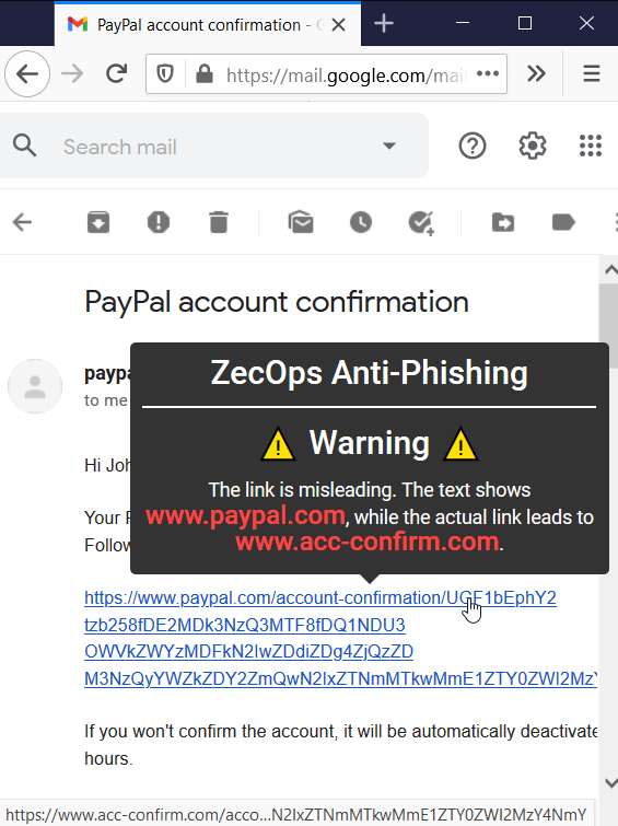 A warning about a misleading link